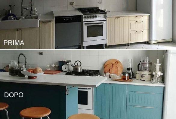 cucina ikea dipinta prima e dopo