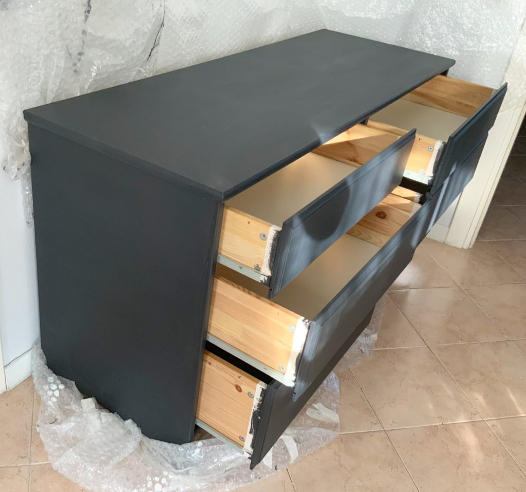 restauro cassettiera, asciugatura finale